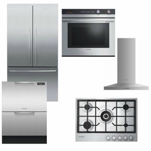 Package FPAY3 - Fisher & Paykel Appliance Package - 5 Piece Appliance Package with Gas Cooktop - Stainless Steel