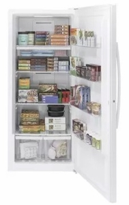 "FUF21DLRWW GE 33"" 21.3 cu. ft. Frost-Free Upright Freezer  with LED Interior Lighting and 3 Clear Freezer Drawers - White"