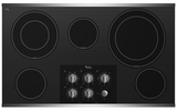 """G7CE3635XS Whrilpool 5 Element Electric Cooktop 36"""" Built-in - Black on Stainless Steel"""