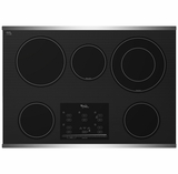 """G9CE3065XS Whirlpool Gold 30"""" Electric Cooktop - Black on Stainless Steel"""