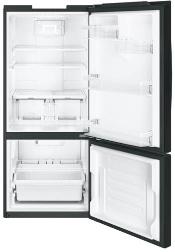 "GBE21DGKBB GE 30"" Energy Star 20.9 Cu. Ft. Bottom Freezer Refrigerator with Adjustable Glass Shelves - Black"