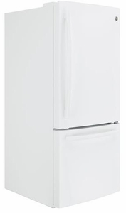"GBE21DGKWW GE 30"" Energy Star 20.9 Cu. Ft. Bottom Freezer Refrigerator with Adjustable Glass Shelves - White"