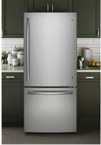 "GBE21DSKSS GE 30"" Energy Star 20.9 Cu. Ft. Bottom Freezer Refrigerator with Adjustable Glass Shelves - Stainless Steel"