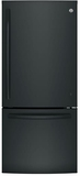 "GDE21EGKBB GE 30"" Energy Star 20.9 Cu. Ft. Bottom Freezer Refrigerator with Factory-Installed Icemaker - Black"