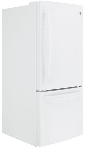 "GDE21EGKWW GE 30"" Energy Star 20.9 Cu. Ft. Bottom Freezer Refrigerator with Factory-Installed Icemaker - White"