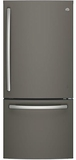 "GDE21EMKES GE 30"" Energy Star 20.9 Cu. Ft. Bottom Freezer Refrigerator with Factory-Installed Icemaker - Slate"