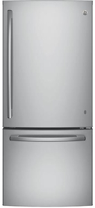 "GDE21ESKSS GE 30"" Energy Star 20.9 Cu. Ft. Bottom Freezer Refrigerator with Factory-Installed Icemaker - Stainless Steel"