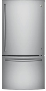 "GDE25ESKSS GE 33"" Energy Star 24.9 Cu. Ft. Bottom-Freezer Drawer Refrigerator with Factory-Installed Icemaker - Stainless Steel"
