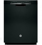 "GDF570SGJBB GE 24"" Front Control Dishwasher with Stainless Steel Interior and Front Controls - Black"