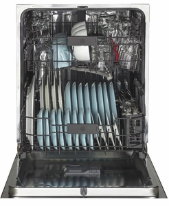 """GDT655SBLTS GE 24"""" Fully Integrated Dishwasher with 16-Place Settings, 4 Wash Cycles and Piranha Hard Food Disposer - Black Stainless Steel - CLEARANCE"""
