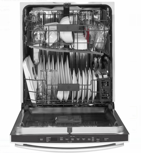 "GDT655SGJBB GE 24"" Fully Integrated Dishwasher with 16-Place Settings, 4 Wash Cycles and Piranha Hard Food Disposer - Black"