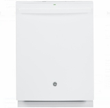 "GDT655SGJWW GE 24"" Fully Integrated Dishwasher with 16-Place Settings, 4 Wash Cycles and Piranha Hard Food Disposer - White"