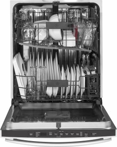 "GDT655SMJES GE 24"" Fully Integrated Dishwasher with 16-Place Settings, 4 Wash Cycles and Piranha Hard Food Disposer - Slate"