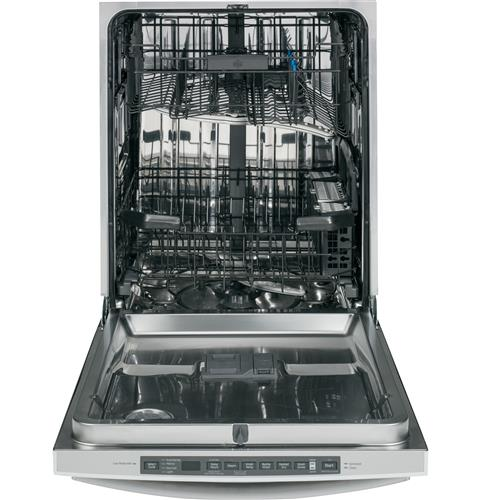 Gdt680sghww ge stainless steel interior dishwasher with hidden controls white for White dishwasher with stainless steel interior