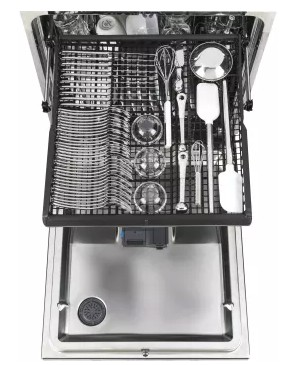 """GDT695SBLTS GE 24"""" Stainless Steel Interior Dishwasher with Piranha Food Disposer and Third Rack - Black Stainless Steel"""