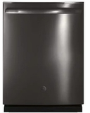 "GDT695SBLTS GE 24"" Stainless Steel Interior Dishwasher with Piranha Food Disposer and Third Rack - Black Stainless Steel"