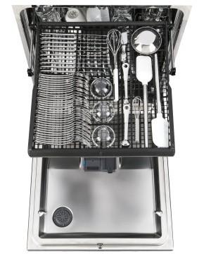 "GDT695SSJSS GE 24"" Stainless Steel Interior Dishwasher with Piranha Food Disposer and Third Rack - Stainless Steel"