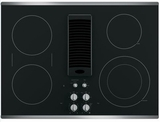 GE Electric Cooktops BLACK WITH STAINLESS STEEL TRIM