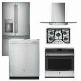Package GEP4 - GE Profle Appliance Package - 5 Piece Appliance Package with Gas Cooktop - Includes Free Hood - Stainless Steel