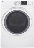 """GFD45ESSMWW GE 27"""" 7.5 cu. ft. Front Load Electric Dryer with Steam Dewrinkle and Quick Dry - White"""