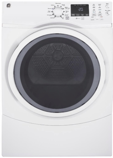 "GFD45ESSMWW GE 27"" 7.5 cu. ft. Front Load Electric Dryer with Steam Dewrinkle and Quick Dry - White"