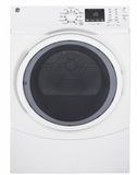 "GFD45GSSKWW 27"" GE 7.5 Cu. Ft. Capacity Gas Frontload Dryer with Sanitize Cycle and Quick Dry - White"