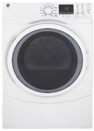 """GFD45GSSMWW GE 27"""" 7.5 cu. ft. Gas Dryer with Steam and 4 Temperature Settings - White"""