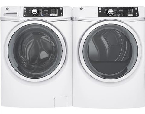 "GFD48ESSKWW 28"" GE 8.3 Cu. Ft. Capacity Front Load Electric Dryer with Sanitize Cycle and Steam Refresh - White"