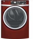 "GFD48GSPKRR 28"" GE 8.3 Cu. Ft. Capacity Front Load Gas Dryer with Sanitize Cycle and Steam Refresh - Ruby Red"