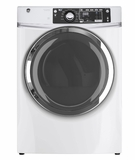 "GFD48GSPKRR 28"" GE 8.3 Cu. Ft. Capacity Front Load Gas Dryer with Sanitize Cycle and Steam Refresh - White"