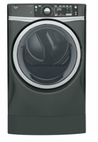 "GFD49ERPKDG 28"" GE 8.3 Cu. Ft. Capacity Front Load Electric Dryer with RightHeight Built-In Pedestal and Steam Refresh - Diamond Gray"