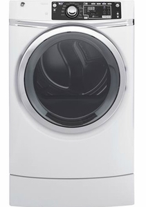 "GFD49ERSKWW 28"" GE 8.3 Cu. Ft. Capacity Front Load Electric Dryer with RightHeight Built-In Pedestal and Steam Refresh - White"