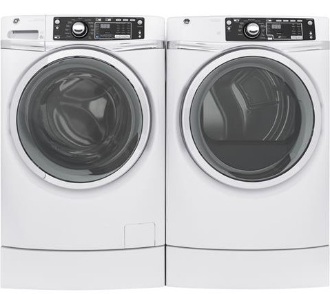 """GFD49ERSKWW 28"""" GE 8.3 Cu. Ft. Capacity Front Load Electric Dryer with RightHeight Built-In Pedestal and Steam Refresh - White"""