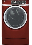 "GFD49GRPKRR 28"" GE 8.3 Cu. Ft. Capacity Front Load Gas Dryer with RightHeight Built-In Pedestal and Steam Refresh - Ruby Red"