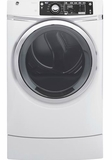 "GFD49GRSKWW 28"" GE 8.3 Cu. Ft. Capacity Front Load Gas Dryer with RightHeight Built-In Pedestal and Steam Refresh - White"