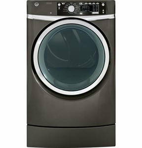 GFDR485EFMC GE 8.3 cu. ft. Capacity  Electric Dryer with Steam & Built-in Riser (Pedestal) - Metallic Carbon