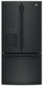 """GFE24JGKBB GE 33"""" 23.8 Cu. Ft. French Door Refrigerator with Exterior Ice & Water - Black"""