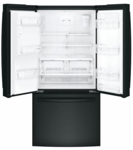 "GFE24JGKBB GE 33"" 23.8 Cu. Ft. French Door Refrigerator with Exterior Ice & Water - Black"