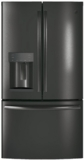 "GFE26JBMTS GE 36"" 25.5 Cu. Ft. French-Door Refrigerator with LED Lighting and Full-Width Deli Drawer - Black Stainless Steel"