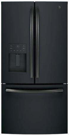 "GFE26JEMDS GE 36"" 25.5 Cu. Ft. French-Door Refrigerator with LED Lighting and Full-Width Deli Drawer - Black Slate"