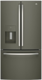 """GFE26JMMES GE 36"""" 25.5 Cu. Ft. French-Door Refrigerator with LED Lighting and Full-Width Deli Drawer - Slate"""