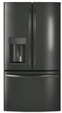 "GFE28GBLTS GE 36"" 27.8 Cu. Ft. French-Door Bottom Freezer Refrigerator With Showcase LED Lighting and TwinChill - Black Stainless Steel"