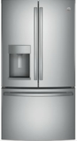 "GFE28GSKSS GE 36"" 27.8 Cu. Ft. French-Door Bottom Freezer Refrigerator With Showcase LED Lighting - Stainless Steel"