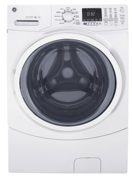 "GFW450SSKWW 27"" GE 4.5 Cu. Ft. Capacity Frontload Washer with Sanitize Cycle and Internal Water Heater - White"