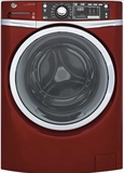 "GFW480SPKRR 28"" GE 4.9 DOE Cu. Ft. Capacity Front Load Washer with Precision Dispense and Steam Assist - Ruby Red"