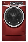 "GFW490RPKRR 28"" GE 4.9 DOE Cu. Ft. Capacity Front Load Washer with RightHeight Built-In Pedestal and Steam Assist - Ruby Red"