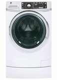 "GFW490RSKWW GE 28"" 4.9 DOE Cu. Ft. Capacity Front Load Washer with RightHeight Built-In Pedestal and Steam Assist - White"