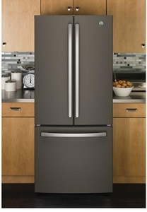 """GNE21FMKES GE 30"""" Energy Star 20.8 Cu. Ft. French-Door Refrigerator with Factory-Installed Icemaker - Slate"""
