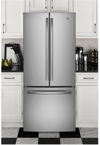 """GNE21FSKSS GE 30"""" Energy Star 20.8 Cu. Ft. French-Door Refrigerator with Factory-Installed Icemaker - Stainless Steel"""