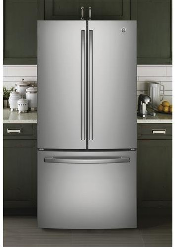 "GNE25JSKSS GE 33"" French Door 24.8 Cu. Ft. Refrigerator with Internal Water Dispenser - Stainless Steel"